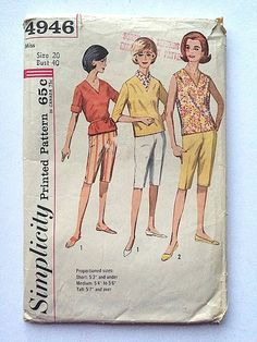Vintage Sewing Pattern Women's 60's Partially Uncut, Simplicity 4946, Overblouse, Cabin Boy Pants (L) FreshandSwanky on Etsy  Whit and Amnd-- Conley.