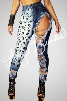 Leopard Destroyed Jeans