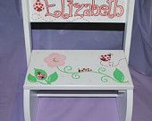 Children's Flip Step Stool Bench - Ladybugs and Flowers -Hand Painted and Personalized