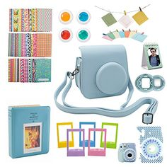 9 Piece Camera Bundle for Fujifilm Instax Mini 8 Accessories Instant Film Camera -Gift Set Box, Includes Blue Kit Case/2 Albums, Selfie Lens, Colored Filters, Wall Hang Frames, 60 Stickers & More - http://travelonline360.com/9-piece-camera-bundle-for-fujifilm-instax-mini-8-accessories-instant-film-camera-gift-set-box-includes-blue-kit-case2-albums-selfie-lens-colored-filters-wall-hang-frames-60-stickers-more/