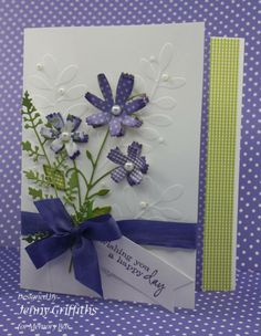 """""""Wishing you a happy day"""" Memory Box card by  Jenny Griffiths. Love the colors and composition! Simple Pleasures Stamps and Scrapbooking."""