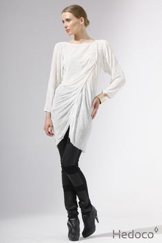 Wrap tunic and pants with leather   [Hedoco + Edyta Jermacz]