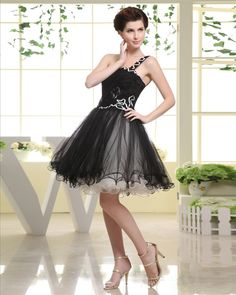 osell wholesale dropship Thigh Length Strapless Sequined Pleat Chiffon A-Line Woman Little Black Dress Prom Dress $53.14