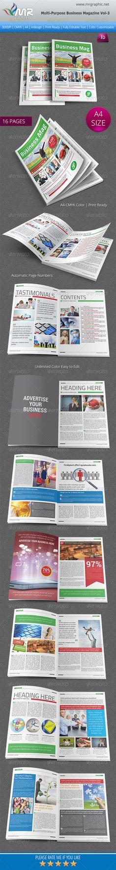 Multipurpose #Business Magazine Vol 3 - #Magazines #Print #Templates Download here: https://graphicriver.net/item/multipurpose-business-magazine-vol-3/6307362?ref=alena994
