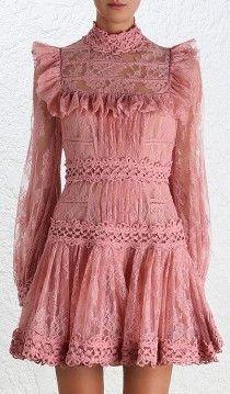 'Mischief Peony' Lace Dress-Pink