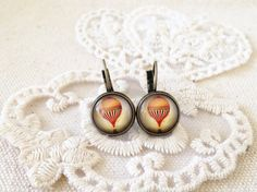 Earrings - Up - Retro, Antique Bronze, Air Balloon, Handmade, 12mm Glass Cabochon, Gift for Her
