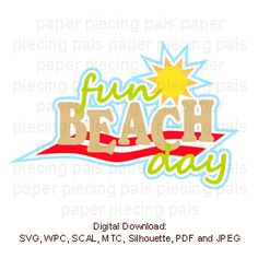 SVG cut file title.  Fun Beach day.