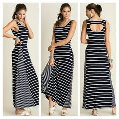 UMGEE Maxi Dress Cutout Back Sleeveless Navy Blue White Stripe www.stores.ebay.com/styleontherun4u