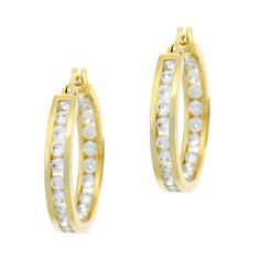 18kt Gold & Sterling Silver Chic CZ Mini Hoops at 68% Savings off Retail! @Michelle Hamilton