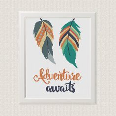 Adventure Awaits quotes Cross Stitch Pattern  ❤ ❤ ❤ You can always find and download them here: You> Purchases and reviews  ❤ PATTERN DETAILS ❤ Fabric: 14 count Aida Stitches: 85x131 Size: Width: 15,24cm Height: 23,77cm (6,14 / 9.43) 8 DMC Colors Use 2 strands of thread for cross stitch   This pattern is in PDF JPEG format and consists of an example photo, a floss list DMC, and a color symbol chart. You can see a small sample of the color symbol chart at the last photo. Pattern in Col...