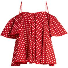 Anna October Off-the-shoulder polka-dot top ($430) ❤ liked on Polyvore featuring tops, shirts, blouses, red off the shoulder top, flutter sleeve top, red top, polka dot top and strappy top