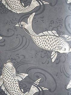 Derwent wallpaper in graphite by Osborne and Little. Ornamental koi carp in a swirling pool, named after the forest and River Derwent in west Cumbria. Also available in charcoal, aqua, coral and blue. Koi Wallpaper, Osborne And Little Wallpaper, Bathroom Wallpaper, Wallpaper Online, Fabric Wallpaper, Pattern Wallpaper, Wallpaper Ideas, Washable Wallpaper, Feature Wallpaper