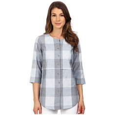 Pendleton Malena Shirt Women's Blouse ($109) ❤ liked on Polyvore featuring tops, blouses, pendleton shirts, 3/4 length sleeve shirts, 3/4 sleeve blouse, cotton blouse and plaid shirt