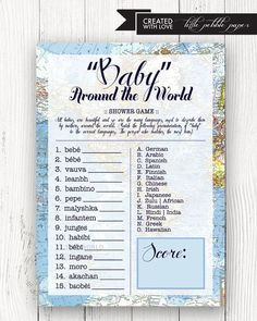 Welcome to the World Baby Shower Game - Baby in the Languages of the World, Map, Welcome to World Baby Shower Theme, Baby Shower Games