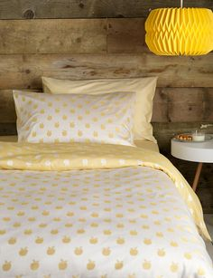 A rustic and grown up kids bedroom, with our apples yellow bedding set. Bring in some sunshine with this bright bed linen set with our teeny tiny apples design. Colour pops of yellow, and fully reversible. Cotton Bedding, Linen Bedding, Duvet, Yellow Bedding Sets, Childrens Bed Linen, Linen Store, Bed Linen Sets, Luxury Bedding Sets, Cool Beds
