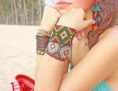 Huichol authentic bracelets cuffs Ethnic Jewelry collection