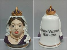 Reina Victoria. Dedal de porcelana, estaño pintado a mano