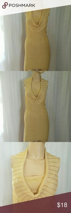 SEXY MINI DRESS This sexy party dress can be accessorized as a club dress, birthday dress or even a casual dress!!  Light gold yellow features a low scoop neckline to show off your sexy cleavage and a moderate exposed back!    Gold small straight sequins creates a subtle optical illusion for a slimming hourglass effect.   Stretchable fabric. Only wore once @ my husband conference party. cielo Dresses Mini