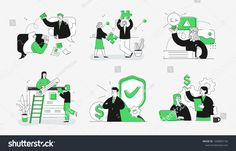 Collection of scenes at office. Bundle of men and women taking part in business meeting, negotiation, brainstorming, talking to each other. Outline vector illustration in cartoon style. Page Setup, Cartoon Styles, Outline, Illustration, Royalty Free Stock Photos, Comics, Abstract, Wallpaper, Pattern