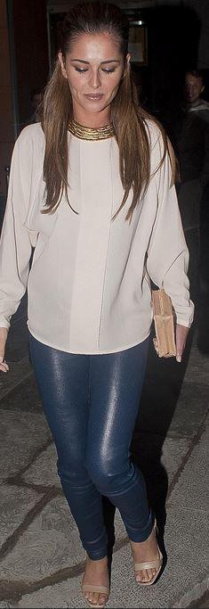 Cheryl Cole: Shoes – Givenchy  Pants – J Brand  Pants – Helmut Lang  Necklace – Kenneth Jay Lane  Purse – Sophie Hulme