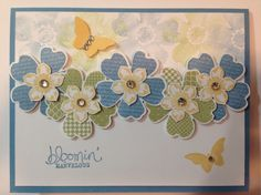 SU Flower Shop, Petite Petals stamp sets, color off stamping in the background. Butterfly Cards, Flower Cards, Flower Stamp, Stampin Up, Stamping Up Cards, Get Well Cards, Tampons, Creative Cards, Greeting Cards Handmade