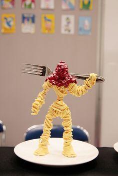 A spaghetti warrior with fighting fork omg it is the best. By moha. すごい!このスパゲティ戦士ってすごいです!mohaさんが作りましたもの, Design Festa