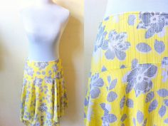 Spring / Summer Sale: yellow & gray floral skirt (28 inches), handkerchief hem skirt by VintageHomage