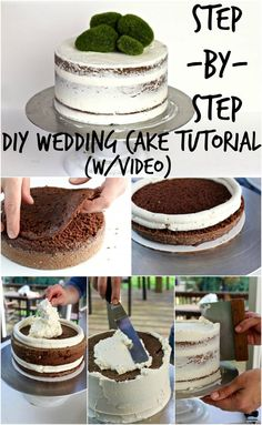 DIY WEDDING CAKE TUTORIAL You are in the right place about chocolate wedding cake with succulents Here we offer you the most beautiful pictures about the double chocolate wedding cake you are looking Cakes To Make, How To Make Cake, Food Cakes, Cupcake Cakes, Nake Cake, Cheesecake Wedding Cake, Diy Wedding Cake, Making A Wedding Cake, Wedding Cake Tutorials