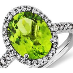 Blue Nile Peridot and Diamond Ring in 18k White Gold (10x8mm) ($1,400) ❤ liked on Polyvore