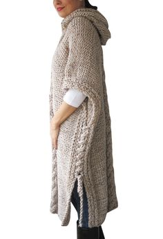 20% WINTER SALE NEW Plus Size Maxi Knitting Poncho with by afra