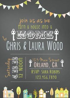 House Warming Party Invitation. $12.00, via Etsy. Repinned by www.movinghelpcenter.com Follow us on Facebook !