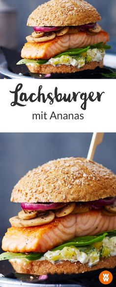 Lachs-Ananas-Burger Do you like salmon? And buger? How about a combination of both? Your Way I Burger I Burger Recipe I Salmon Burger I WW Burger I WW Your Way I Weight Watchers Grilled Fish Recipes, Easy Fish Recipes, Burger Recipes, Salmon Recipes, Asian Recipes, Beef Recipes, Appetizer Recipes, Healthy Recipes, Appetizers