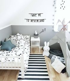 Black & white kids room with tipi and Miffy lamp