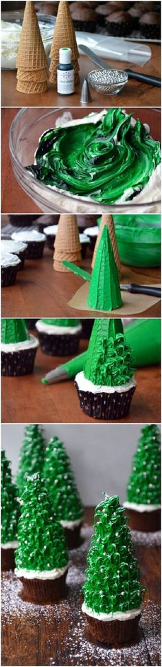 CHRISTMAS TREE CUPCAKES ~ now this is a cake decorating technique that doesn't require me to be a professional! Simple and easily found items are used to create these spectacular Christmas trees! A miniature Christmas tree farm! Christmas Tree Chocolates, Christmas Tree Cupcakes, Noel Christmas, Christmas Goodies, Christmas Desserts, Holiday Treats, Christmas Treats, Holiday Recipes, Modern Christmas