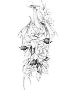 Dragon Tattoo With Flowers, Skull Tattoo Flowers, Skull Rose Tattoos, Skull Hand Tattoo, Flower Tattoos, Spine Tattoos, Body Art Tattoos, Hand Tattoos, Girl Tattoos