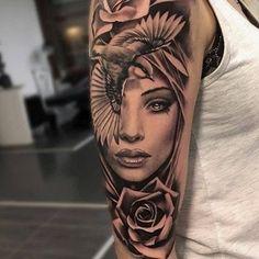 tatuajes de rostros de mujeres ideas #tattooswomenssleeve