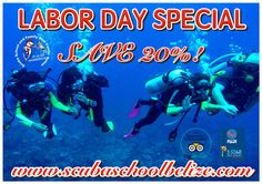 Save big money on your diving for the rest of 2017! Book on 3rd, 4th and 5th of September and save. This deal can't be combined with any package or other discounts. Must pay in full at the time of booking to take advantage of this savings. #scubaschoolbelize #Belize #padi #ambergriscaye #vacation #thegreatbluehole #scubadiving