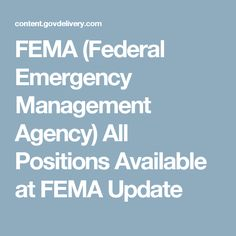 FEMA (Federal Emergency Management Agency) All Positions Available at FEMA Update