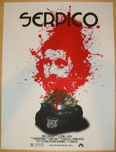 "Serpico - silkscreen movie poster (click image for more detail) Artist: Jay Shaw (Iron Jaiden) Venue: n/a Location: n/a Date: 2011 Edition: 79; signed and numbered Size: 18"" x 24"" Condition: Mint Note"