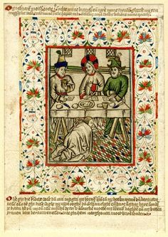 Christ at supper with Simon the Pharisee; Christ sits at the table between two men, while St Mary Magdalene wipes his feet with her hair; th...