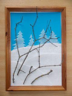 Объемная зимняя аппликация Снегири своими руками