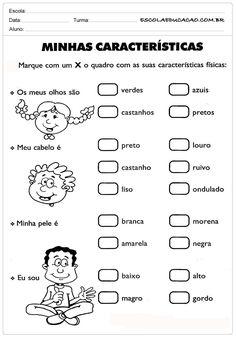 Atividades sobre o corpo - Minhas Características - Escola Educação Learn Portuguese, Plush Pattern, Toddler Activities, Writing, Learning, Download, Pokemon, Harry Potter, School