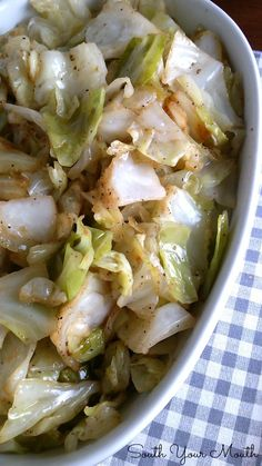 Cabbage cooked the Southern way by sauteing in bacon grease and steaming until tender.