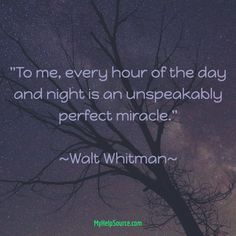 """""""To me, every hour of the day and night is an unspeakably perfect miracle.""""  ~Walt Whitman~"""
