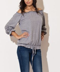 This Gray Off-Shoulder Top by Katrus is perfect! #zulilyfinds