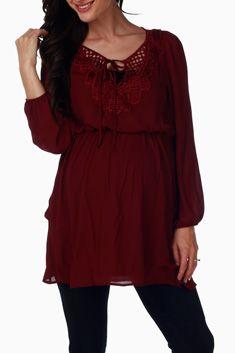 Burgundy Chiffon Crochet Accent Maternity Blouse #maternity #fashion