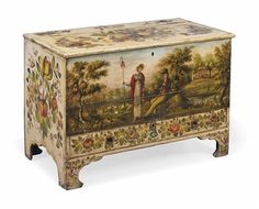 A LATE GEORGE III PAINTED MARRIAGE CHEST  EARLY 19TH CENTURY  With unusual bold decoration of floral sprays on cream ground, the front with scene depicting shepherdess and gentleman in a wooded landscape above a drawer  29½ in. (75 cm.) high; 43½ in. (110 cm.) wide; 23 in. (58 cm.) deep Hand Painted Furniture, Paint Furniture, Antique Furniture, Furniture Decor, Decorative Objects, Decorative Boxes, Furniture Painting Techniques, Wood Surface, Painted Boxes