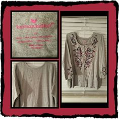 💙 Woman's NWOT Grey Tunic Size 3X 💙 This is a beautiful long sleeved tunic size 3X from woman within there's a pretty embroidery pattern on front as well as sleeves. This is very comfortable and fits loose. I washed it but never wore it due to weightloss so it's in Excellent New Condition 🚫 TRADES 🚫 PAYPAL 🚫 OFFERS ACCEPTED PRICE IS FINAL MARKDOWN 💙 Woman Within  Tops Tunics