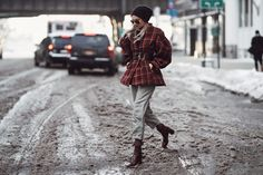 Wearing:Cinq à Sept Denim Dress (similar)| Topshop Turtleneck | WGACA Denim Chanel Bag | Louboutin Combat Boots Wearing:Style Nanda Jacket | The Vintage Twin Pants | Ellery Boots (similar)