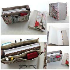 Organizador de mala e capa de livro Ref. Paris Red Rose Bege.